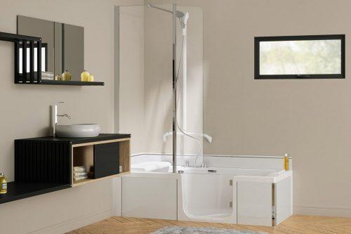 baignoire à porte douche kinéduo